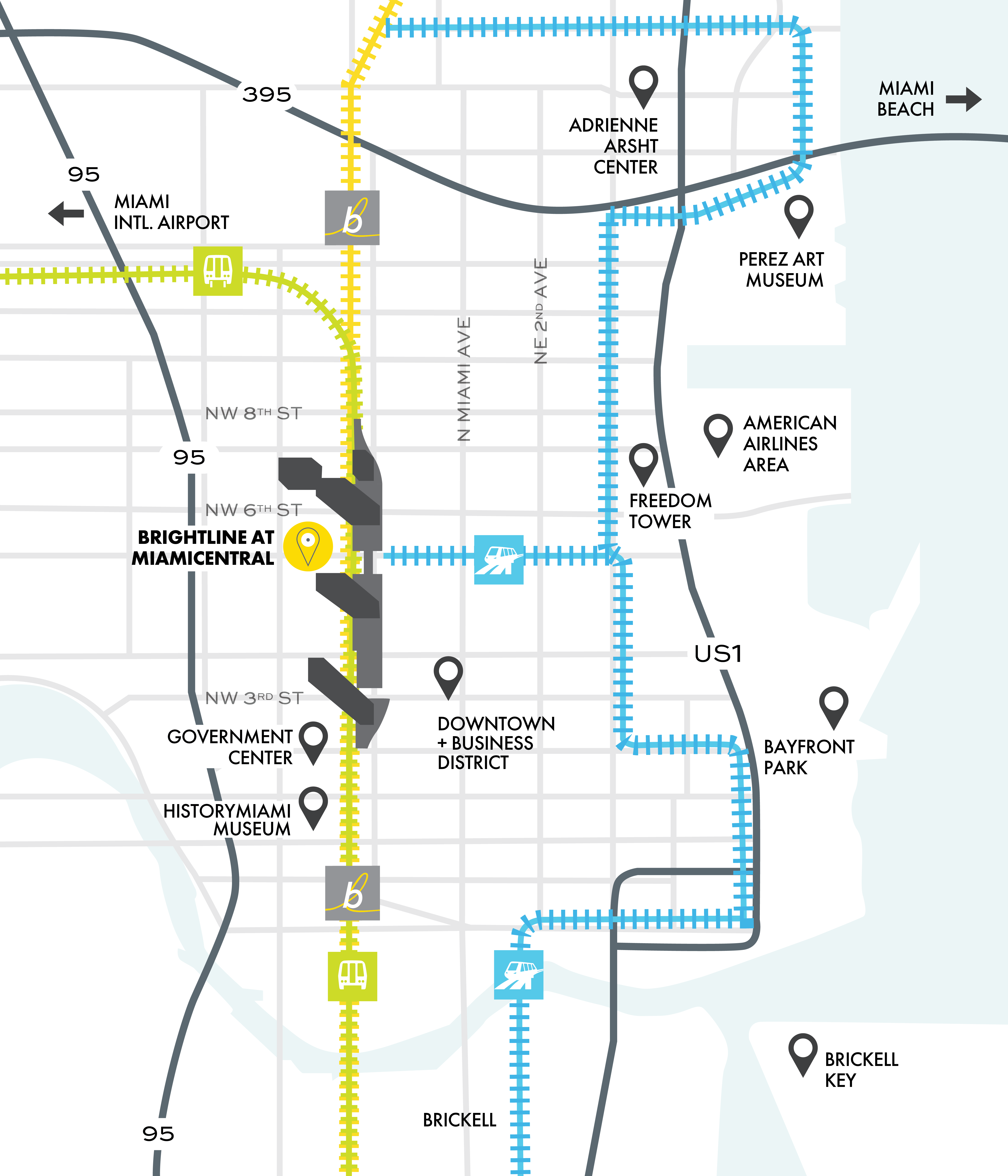 Miami service map with nearby attractions.