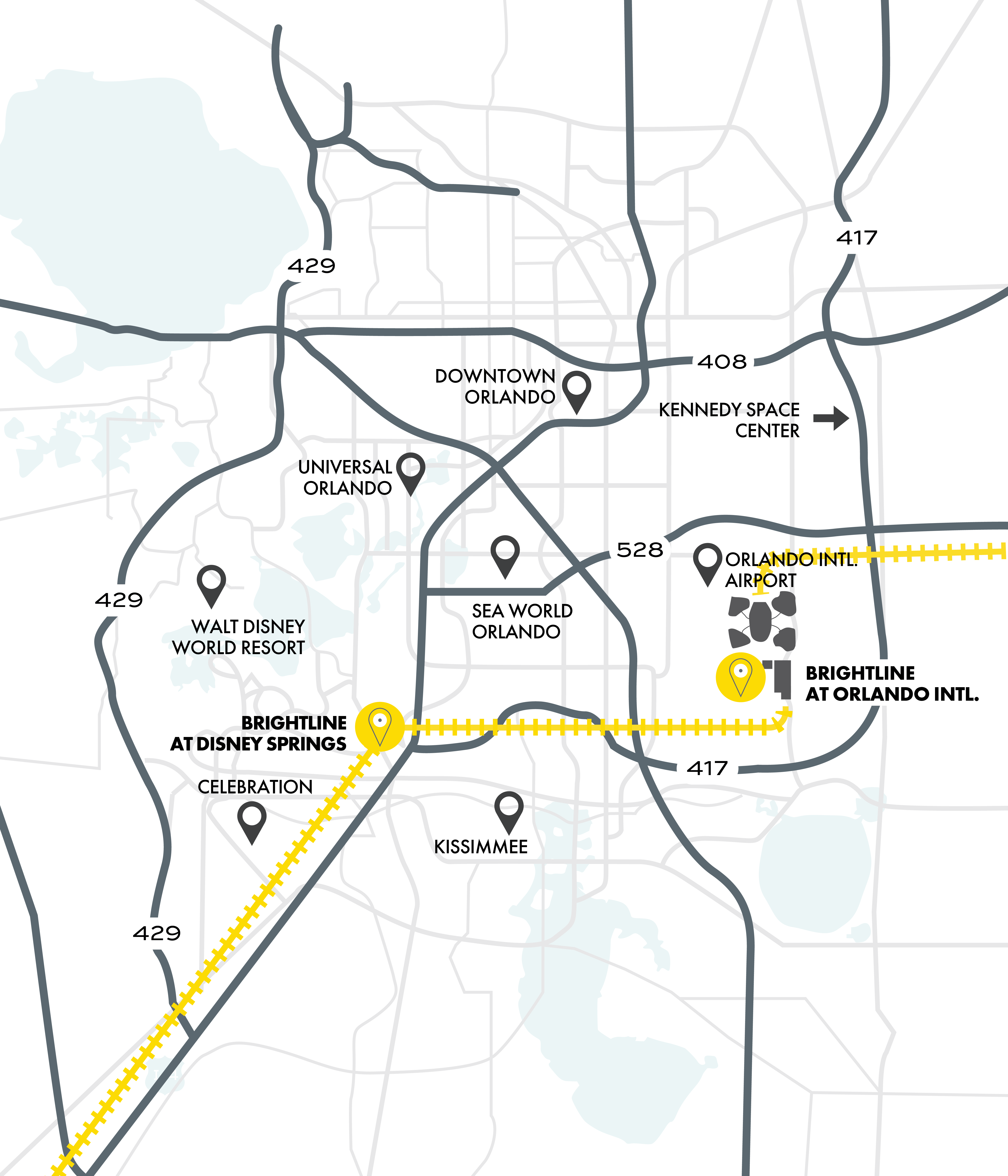 Orlando service map with nearby attractions.