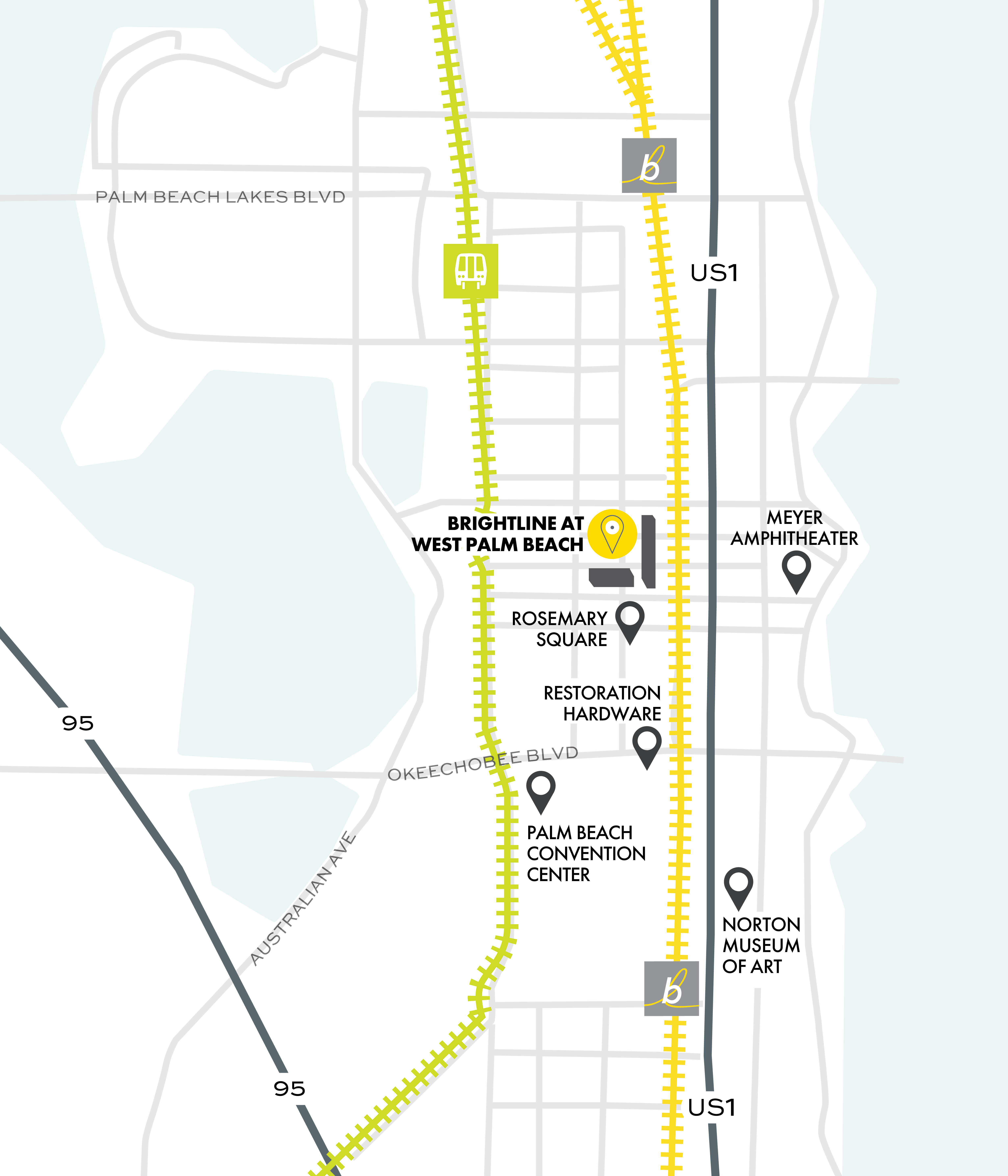West Palm Beach service map with nearby attractions.