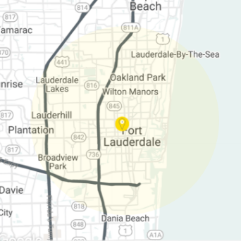 Fort Lauderdale  Service Coverage Map